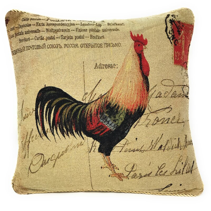 August Grove Noeline Handsome Rooster Postmark With Love 18 Throw Pillow Cover Reviews Wayfair
