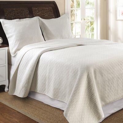 Antoine Cotton Reversible Quilt Set Size: Twin, Color: Ivory