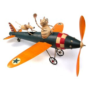 Blue Handworks Cat Aviator Whirligig Statue