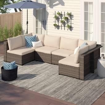 Brayden Studio Vankirk 4 Piece Sectional Seating Group With Cushions Reviews Wayfair