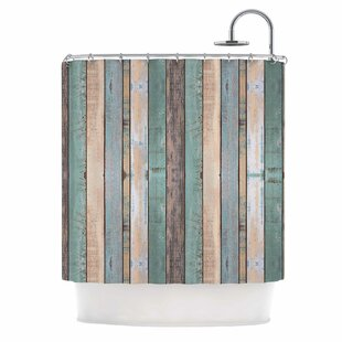 'Coastal Beach Wood' Photography Shower Curtain by East Urban Home