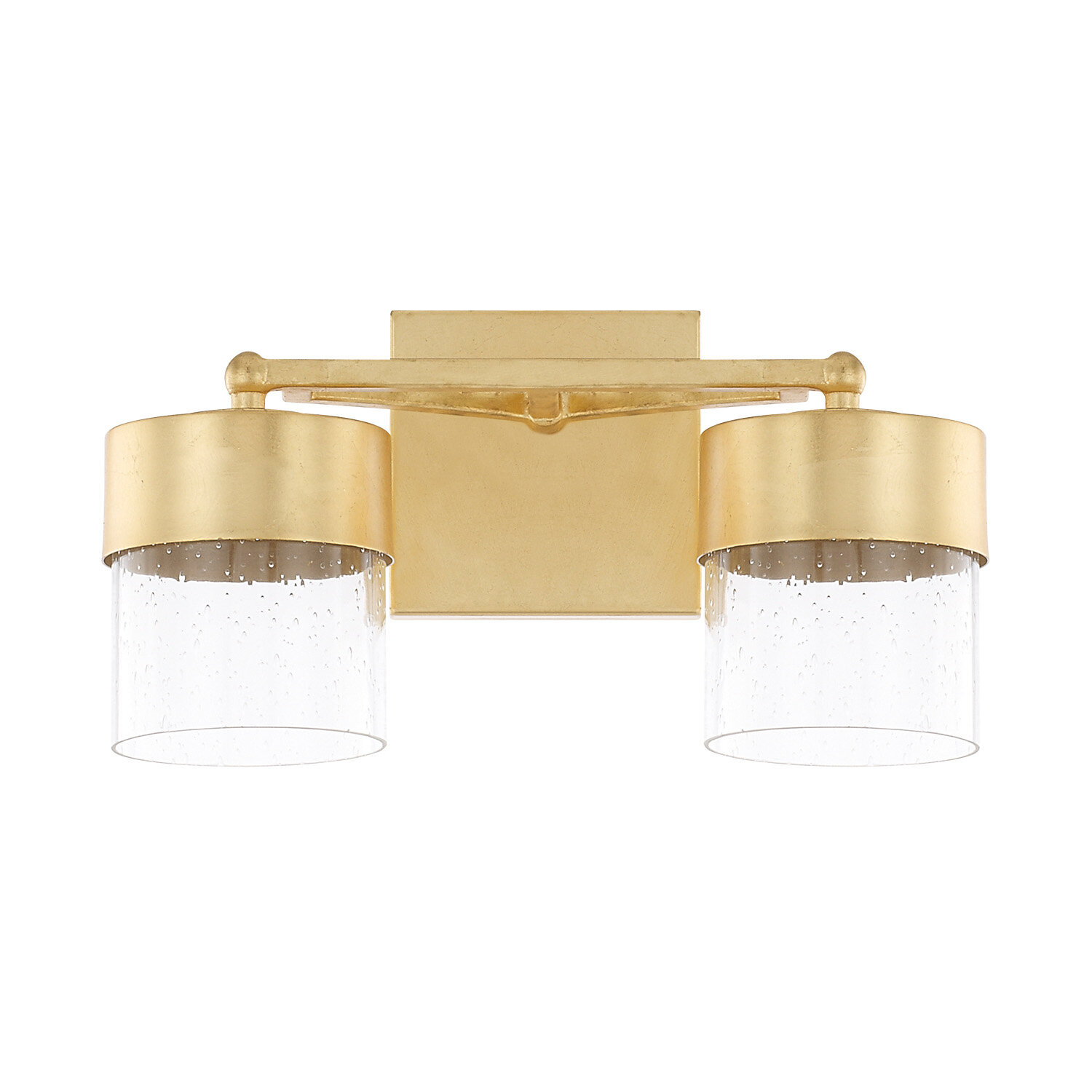 Ozella 2 light vanity light with clear seeded glass