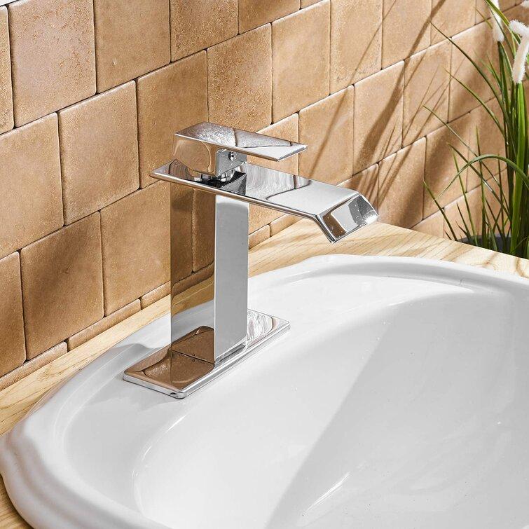 Waterfall Spout Single Handle Bathroom Faucet Chrome Modern Lavatory Deck Mount