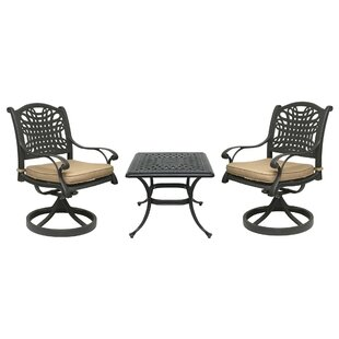 Fleur De Lis Living Champigny 3 Piece Bistro Set with Sunbrella Cushions