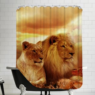 Lion Cat Savanna Shower Curtain by East Urban Home