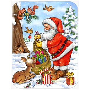 Christmas Santa Claus handing Out Presents Glass Cutting Board ByCaroline's Treasures