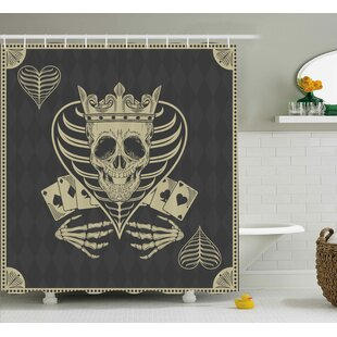 Skull Vector Skull Poker Cards Play Game Scary Horror Image With Crown and Heart Single Shower Curtain