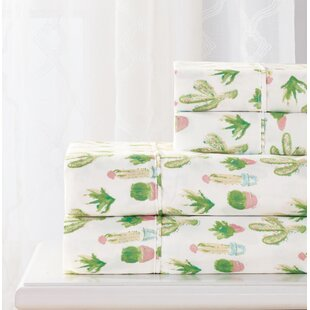 Bungalow Rose Blanco 4 Piece Cactus Sheet Set