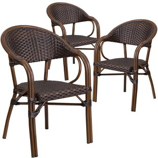 Shelie Rattan Restaurant Patio Arm Chair (Set of 3)