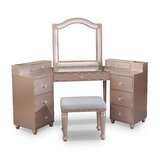 Commodore Vanity Set with Stool and Mirror by Rosdorf Park