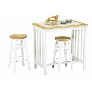 Aryan Wood Frame Oak Counter Height 3 Piece Pub Table Set