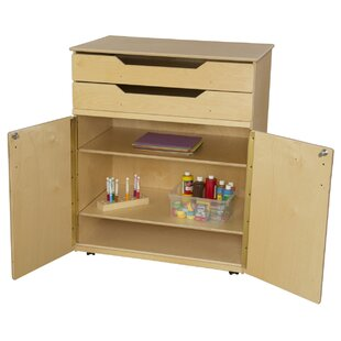 3 Compartment Classroom Cabinet with Casters by Wood Designs