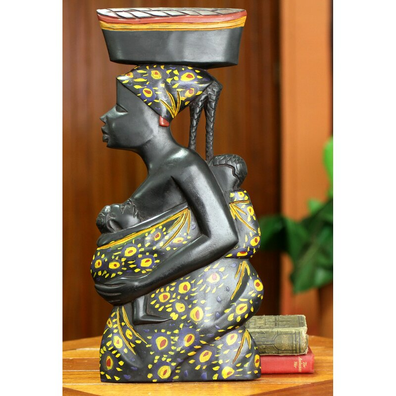 Novica Appreciation African Mother and Child Wood Sculpture Wall ...