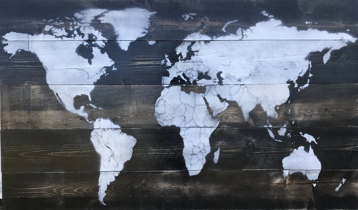 17 stories vintage world map painting on wood reviews wayfair vintage world map painting on wood gumiabroncs Choice Image