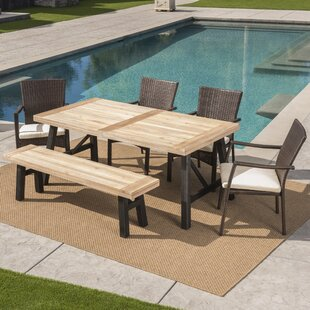 17 Stories Polen Outdoor 6 Piece Dining Set with Cushions