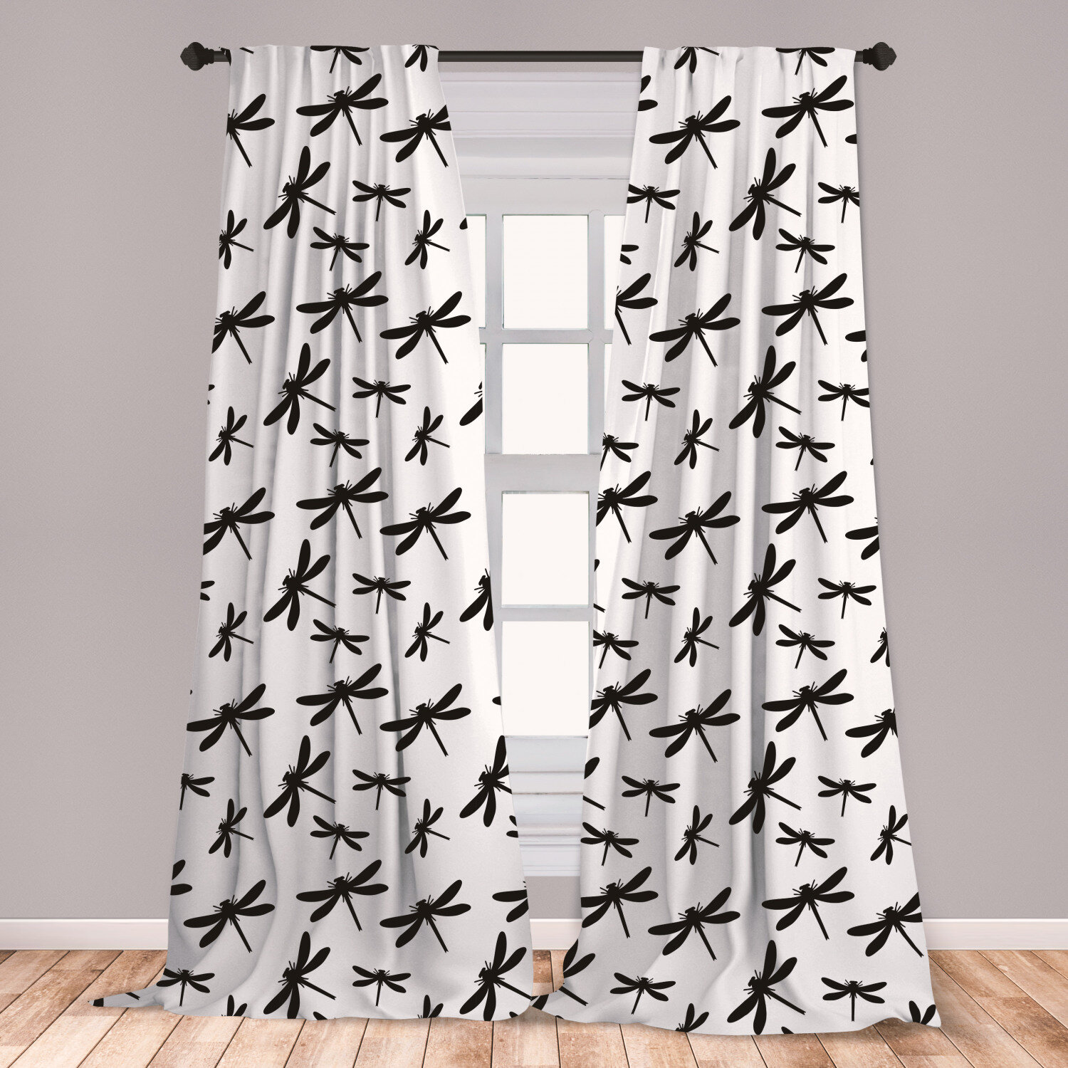 East Urban Home Ambesonne Dragonfly Curtains, Bold And Black