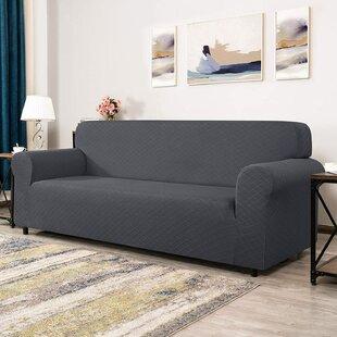Rhombus Jacquard Stretch Box Cushion Loveseat Slipcover By Ophelia & Co.
