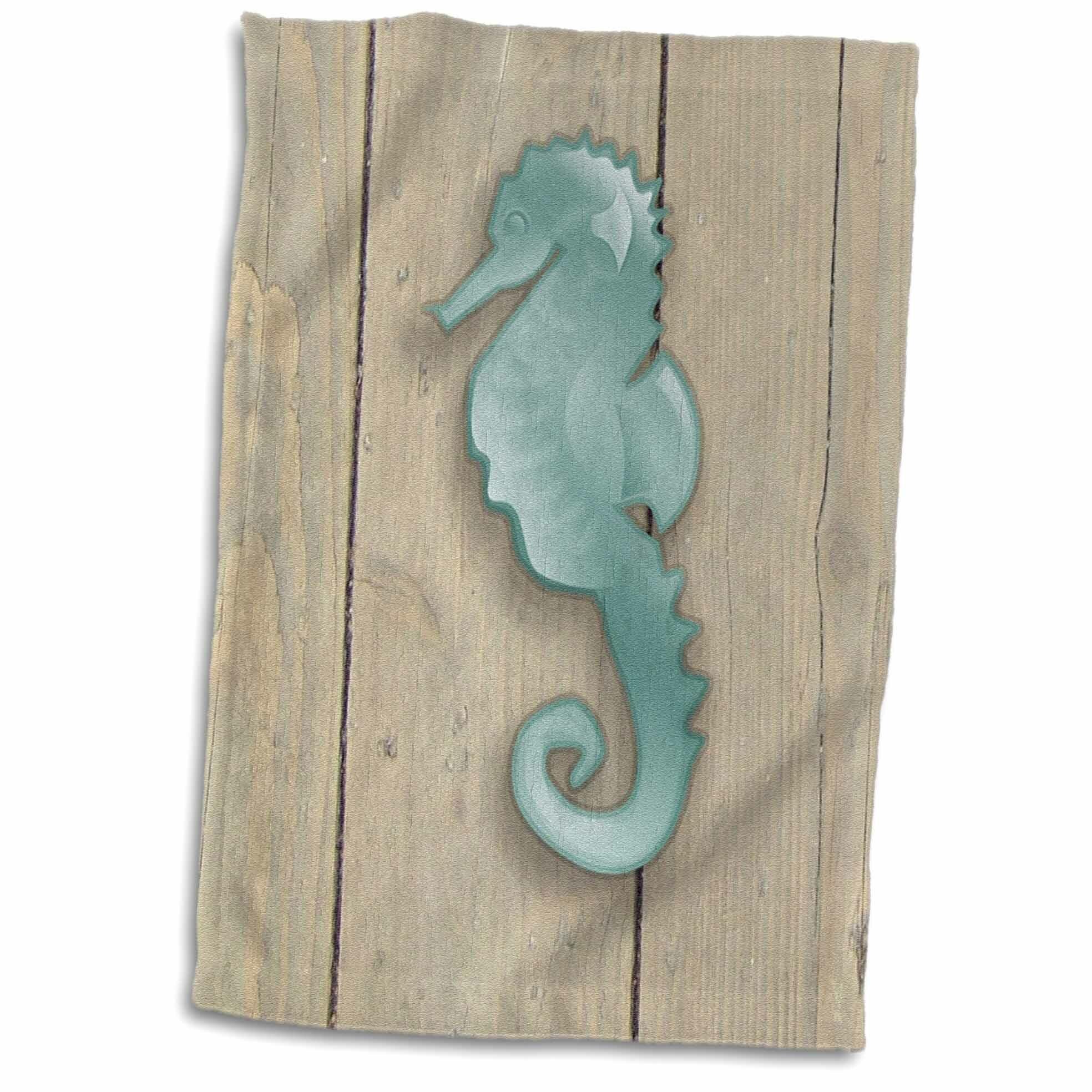 East Urban Home Dominik Image Of Cartoon Seahorse On Old Wooden Planks Hand Towel Wayfair