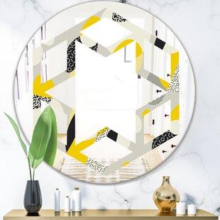 Hexagon Star Abstract Design Pattern V Modern Frameless Wall Mirror