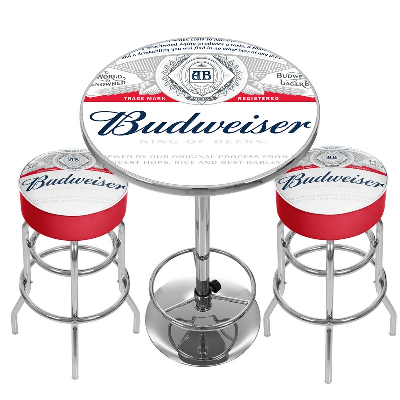 Trademark Global Budweiser Label Game Room Combo 3 Piece Pub Table