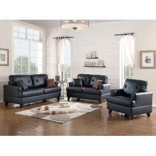 Bethany 3 Piece Leather Living Room Set by A&J Homes Studio