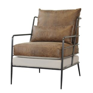 Sheehan Leather and Fabric Metal Framed Armchair