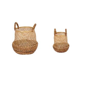 Round Blocked 3 Piece Wicker Rattan Basket Set Reviews Joss Main