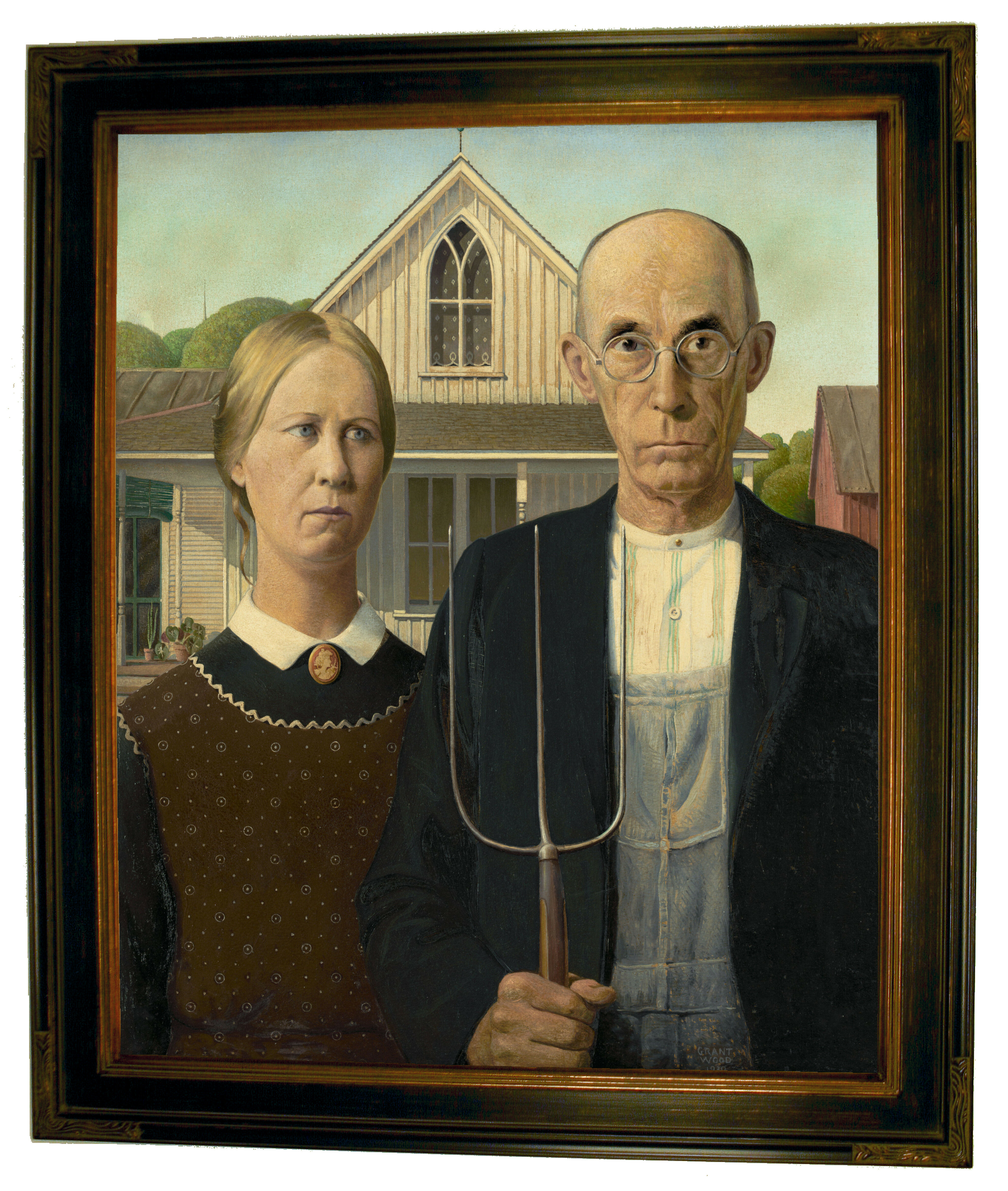 Historic Art Gallery American Gothic By Grant Wood Framed Painting Print Wayfair