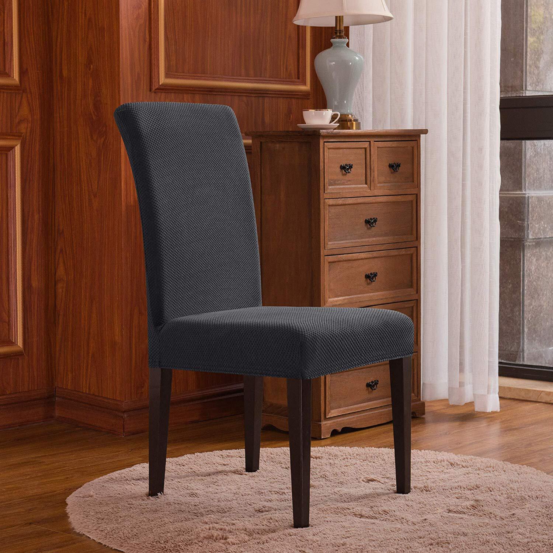 Subrtex Stretch Dining Room Chair Slipcovers 6 Black Knit Mimbarschool Com Ng