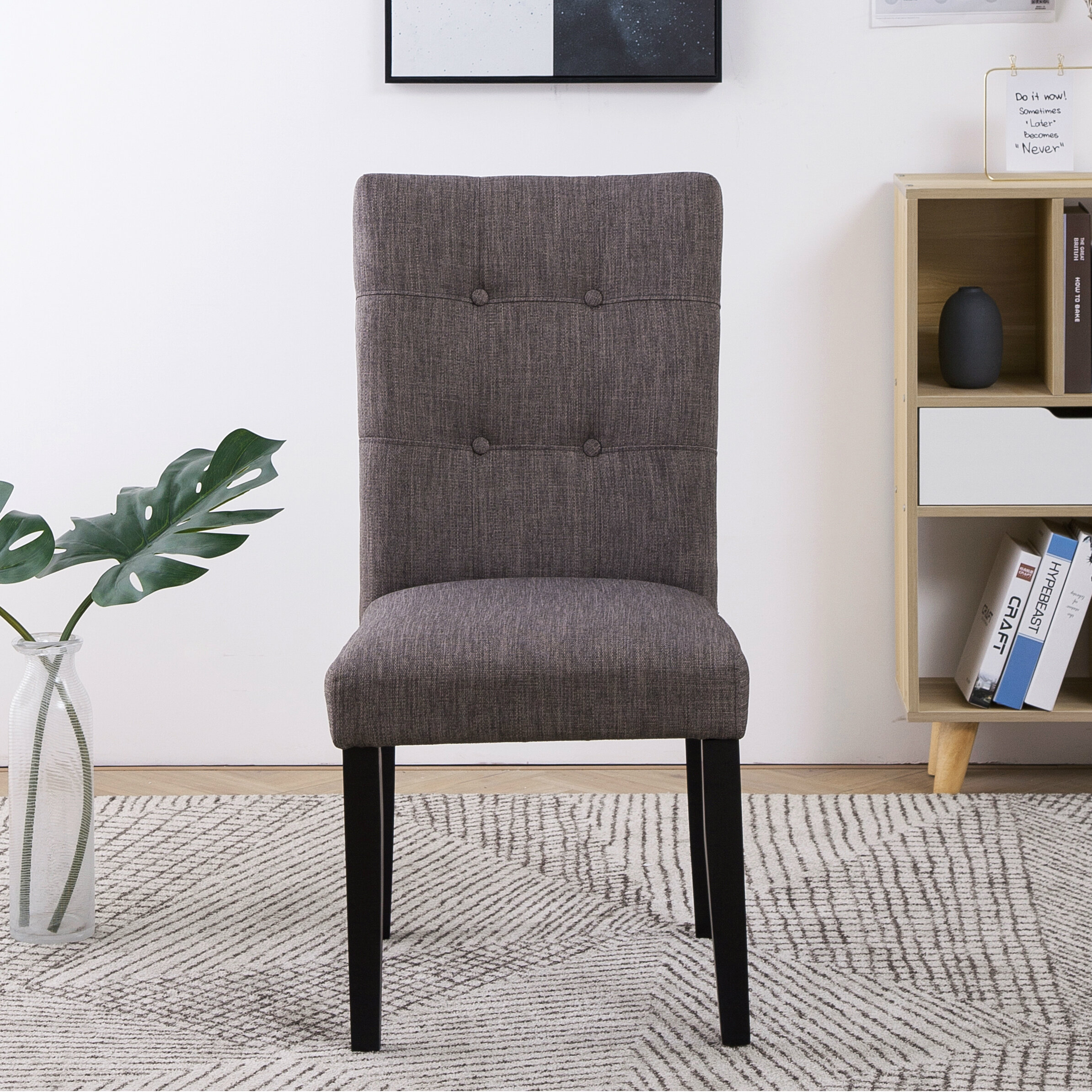 Hugo Tufted Linen Upholstered Solid Wood Parsons Chair In Dark Gray