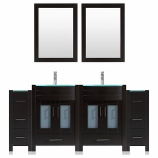 Peterman Modern 72 Double Bathroom Vanity Set with Wood Frame Mirror by Orren Ellis