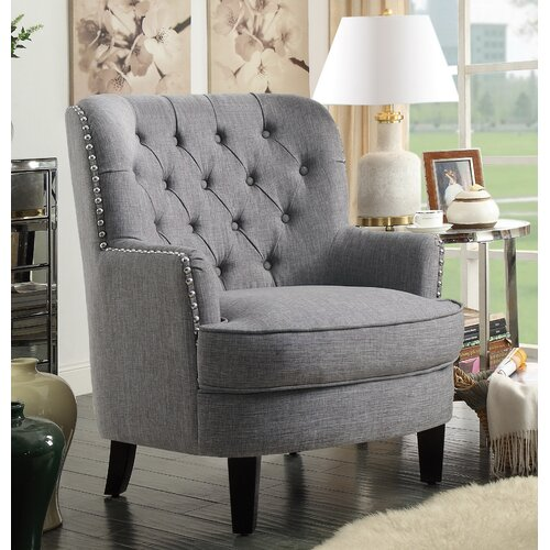 Ivo Wingback Chair ClassicLiving Upholstery Colour: Grey