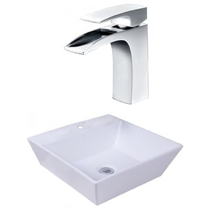 Buy luxury Ceramic Square Vessel Bathroom Sink with Faucet and Overflow ByAmerican Imaginations