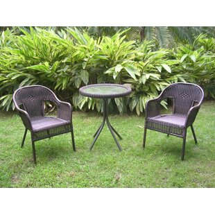 August Grove Dominic 3 Piece Wicker Resin Steel Patio Bistro Set