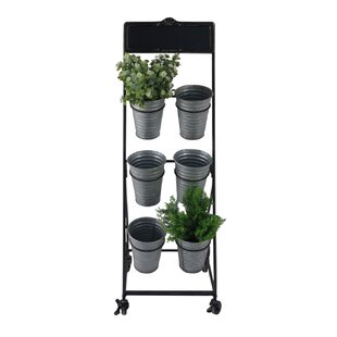 Gracie Oaks Priston Rolling Cart with 6 Removable Pots Vertical Garden