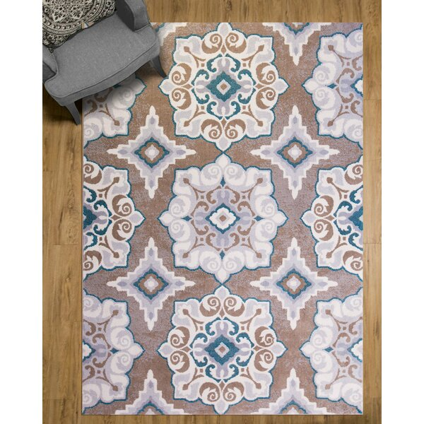 andover mills natural cerulean blue/taupe area rug & reviews | wayfair