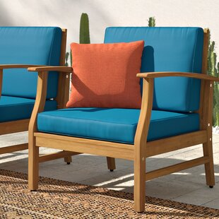 Antonia Outdoor Wood Patio Chair with Cushions (Set of 2)