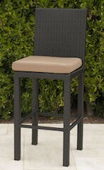 Wicker Armless Patio Bar Stool with Cushion