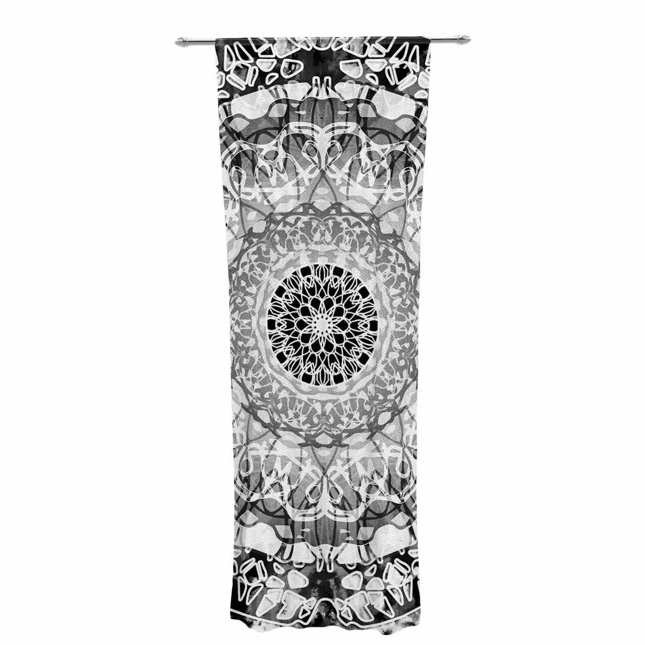 Kess InHouse Nina May Tie-Dye Mandala Jain Black White Illustration 26 x 26 Square Floor Pillow