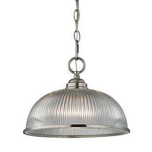 Alcott Hill Grosse 1-Light Metal and Glass Bowl Pendant