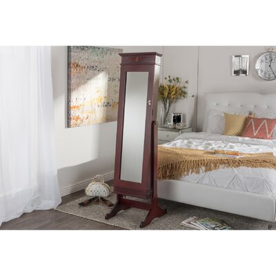 Keele Jewelry Armoire with Mirror Color: Brown