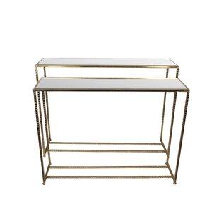 Mercer41 Portland 2 Piece Iron & Glass End Table Set