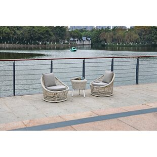 Patty 3 Piece Rattan 2 Person Seating Group with Cushions