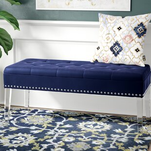 House of Hampton Esmeyer Tufted Mid-Century Nailhead Trim Upholstered Storage Bench