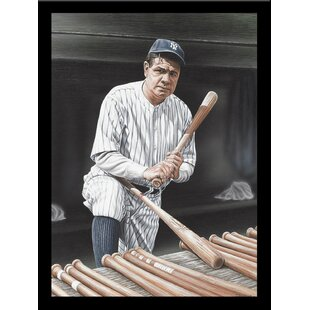 'Babe Ruth on Deck' Print Poster by Darryl Vlasak Framed Memorabilia by Buy Art For Less
