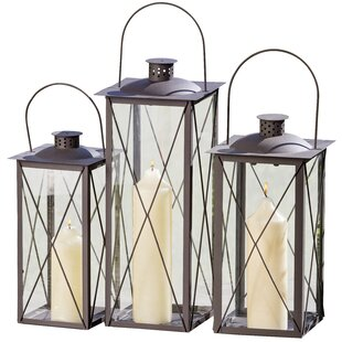 Urban Chic Industrial Cross Post 3 Piece Iron Lantern Set