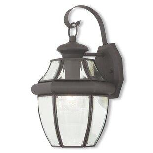 Gustavson 1-Light Outdoor Metal Wall Lantern by Three Posts