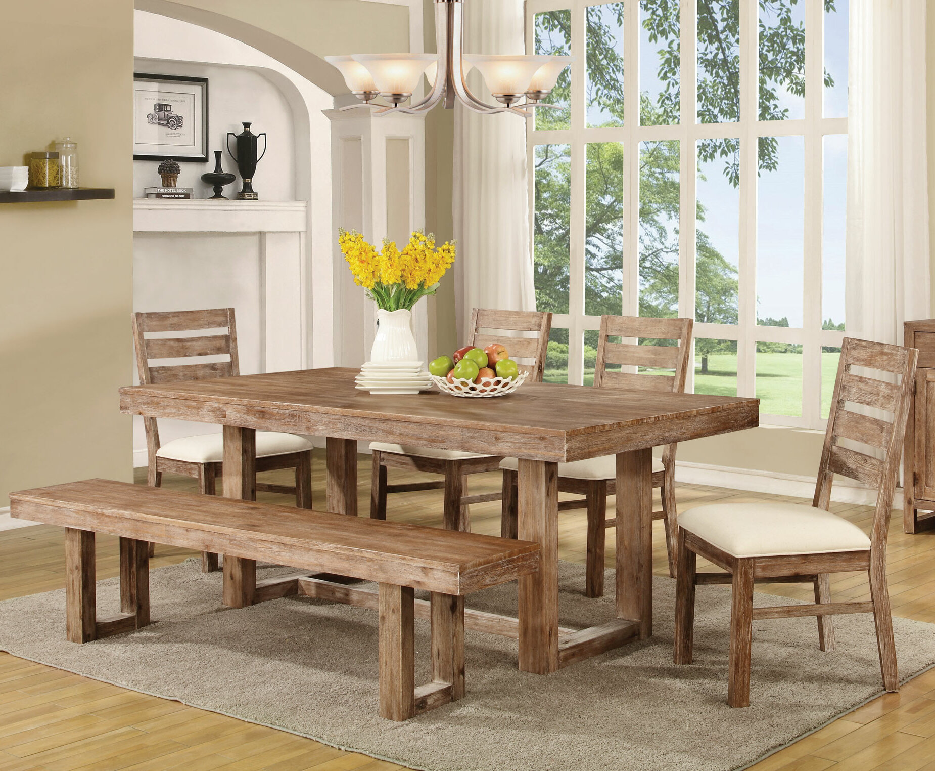 Laurel Foundry Modern Farmhouse Hollingshead 6 Piece Dining Table Set U0026  Reviews   Wayfair