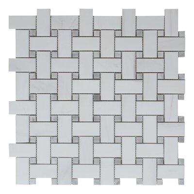 Seven Seas Bianco Carrara Basket Weave Mosaic Polished Tile In Gray - Carrara basketweave tile gray dot
