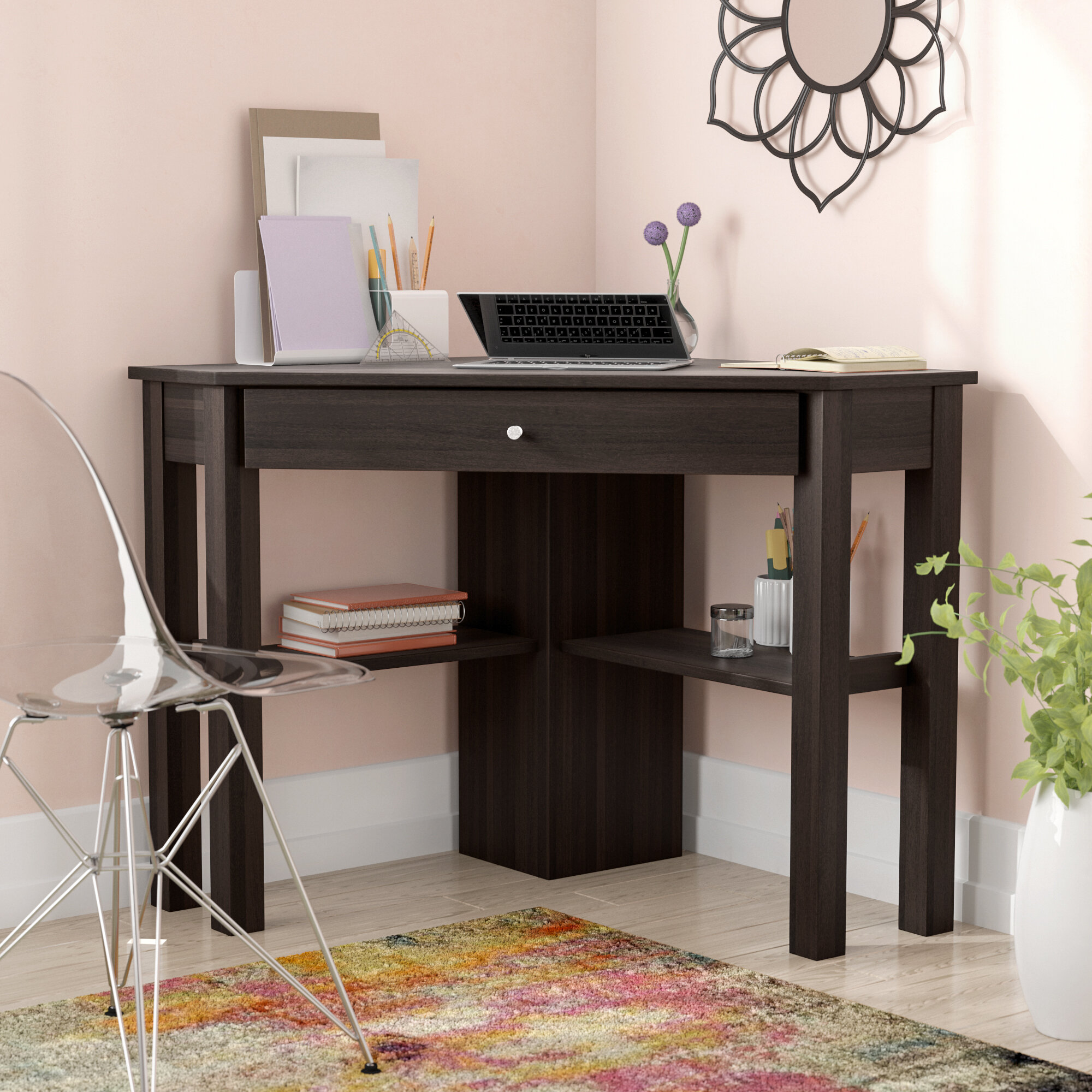 Bamboo Corner Desk Office Desk With Locking Drawers